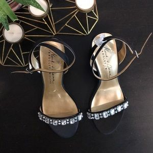 Mark and James Badgley Mischka black satin heels